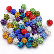 20Pcs/Pack Czech Crystal Rhinestones Pave Clay Round Disco Ball DIY Spacer Beads