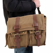 Men's Vintage Canvas Leather School Military Shoulder Messenger Bag hot LC