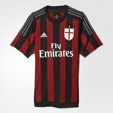 Adidas AC Milan Home Replica Jersey Black Victory Red Shirt Men Football S11836