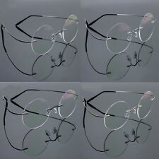 Pure Titanium Rimless Vintage Round Flexible Optical Eyeglass Frame Eyewear Rx
