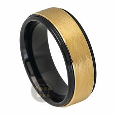 Men's 8mm 2 Tone Black, Yellow Gold IP Tungsten Ring Sand blasted Center TS7170