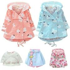 Baby Kids Toddler Girls Autumn Spring Hooded Floral Coat Outwear Jacket Trench