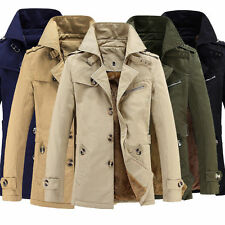 Men's Long Fleece Trench Coat Lined Thick Winter Outwear Jackets Padded Jacket❤