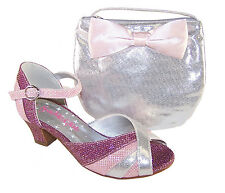 Girls Pink Silver Peep Toe Sparkly Shoes Low Heel Party Glitter Silver Handbag