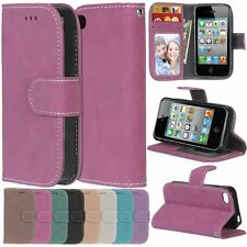 Retro Flip Leather Wallet Cards KickStand Case Cover For Apple iPhone 4 4G 4S
