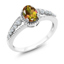 1.01 Ct Oval Mango Mystic Topaz White Topaz 14K White Gold Ring
