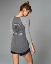 Abercrombie & Fitch TShirt Womens Graphic Raglan Henley Top XS S or M Grey NWT