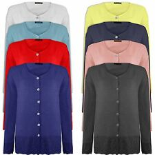 Womens Ladies Long Sleeve Crochet Knitted 6 Button Cardigan V Neck Top Jumper