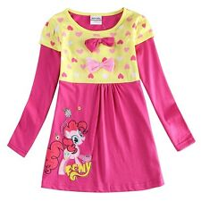 Girls Spring Fall Dress Cotton Long Sleeve Knee-Length Pony Pink Nova Size 2T-6T