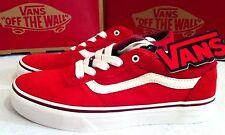 New Mens Boys Vans Milton Suede Leather Trainers Shoes Vintage Red Size UK 1,2,6