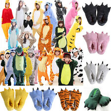 Kids Adults Warm Animal Kigurumi Pajamas Costume Sleepwear Slippers Dress Shoes