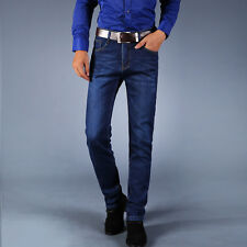 Mens Classical Stretch Slim Fit Casual Jeans Long Straight Denim Pants Trousers