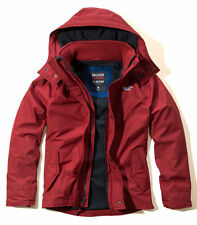 HOLLISTER Men's All Weather Fleece-Lined Jacket RED Size XL New With Tags