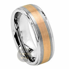 Men's 8mm Stepped Edge Tungsten Ring w/ Brushed Rose Gold Plated Center TS3540