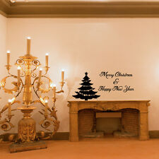 Wall Decal Quote Merry Christmas And Happy New Year Decal Christmas Tree (W82)