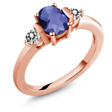 0.85 Ct Checkerboard Blue Iolite White Diamond 18K Rose Gold Plated Silver Ring