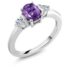 1.03 Ct Oval Purple Amethyst White Topaz 925 Sterling Silver Ring