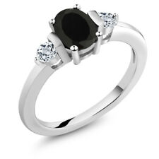 1.08 Ct Oval Black Onyx White Topaz 925 Sterling Silver Ring