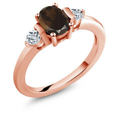 1.03 Ct Oval Brown Smoky Quartz White Topaz 18K Rose Gold Plated Silver Ring