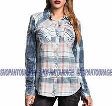 Affliction Double Take 111WV135 Women`s New Indigo Long Sleeve Button-Down Shirt