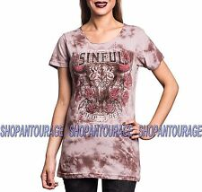 Sinful Rattlesnake Bend S3915 Women`s New Tea Stain Scoop Neck Top By Affliction