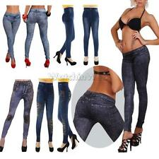 Fashion Women Ladies Leggings Stretchy Jeggings Jeans Look Solid/Leopard Pants