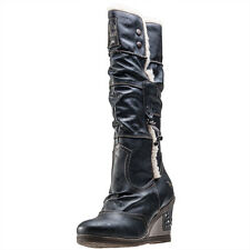 Mustang Fur Lined Knee High Womens Boots Anthracite New Shoes