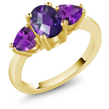 1.80 Ct Oval Checkerboard Purple Amethyst 18K Yellow Gold Ring