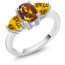 1.92 Ct Oval Orange Red Madeira Citrine Yellow Citrine 925 Sterling Silver Ring