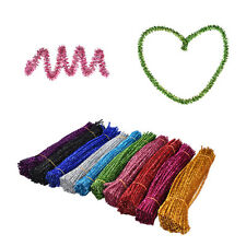 100x Coloured Glitter Chenille Stems Pipe Sticks Cleaners For Art DIY Crafts WR