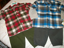 * NWT NEW BOYS 2PC CARTERS PLAID WINTER OUTFIT SET 12M 18M 24M