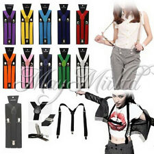 17 Colors Braces Suspenders Adjustable Unisex Neon UV Dress & Plain Y Back XW っ