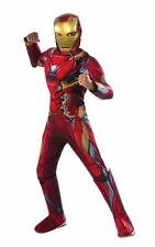 Boys Marvel Avengers Deluxe MUSCLE IRON MAN costume dress up Size 4/6 7/8 mask