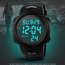 Fashion Men's Silicone LED Digital Date Waterproof Quartz Army Sport Wrist Watch