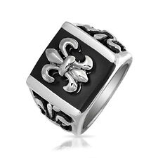 Bling Jewelry Mens Stainless Steel Black Enamel Square Fleur De Lis Ring
