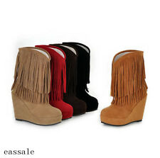 Korean Womens Tassel Mid-Calf Boots Wedge High Heel Platfrom Faux Suede Boots