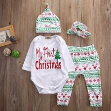 Christmas Infant Baby Boy Girl Outfits Clothes Romper Pants Leggings 4PCS Set