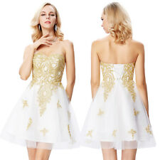 Short Golden Lace Ball Gown Evening Cocktail Party Prom Formal Dress Size 6-18