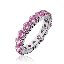 Bling Jewelry Sterling Silver Pink CZ Stackable Eternity Ring