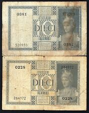 ITALY LOT 2 BANK NOTES 10 LIRE 1935 USED OLD PAPER MONEY 2 LIRA BILLS