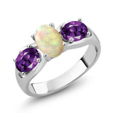 1.21 Ct Oval Cabochon White Ethiopian Opal Purple Amethyst 14K White Gold Ring