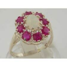 Luxury English Solid 925 Sterling Silver Womens Natural Opal & Ruby Cluster Ring