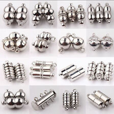 New 10Set Silver Plated Tube Barrel Round Strong Magnetic Clasps Jewelry Finding