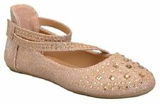 New Girl Glitter Rhinestone Studded 2 Strap Flats Dress Shoes