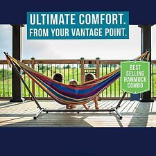 NEW Vivere Double Hammock with Space Saving Steel Stand with Carrying Case