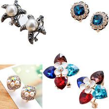 1 pair Crystal Women Ear Stud Earrings Rhinestone New Flower Elegant Girls Lady