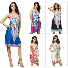 Womens Summer Strapless Wrapped Chest Bohemian Cocktail Party Evening Mini Dress