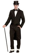 Black Tailcoat Circus Ringmaster Victorian Frock  Men Fancy Dress Costume S- XL