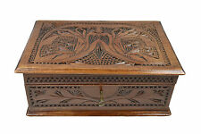 Antique Frisian Chip Carved Jewellery Chest, Dutch.