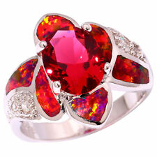 Red Fire Opal Tourmaline Zircon Silver Women Jewelry Gems Ring Size 7 8 9 OJ8907